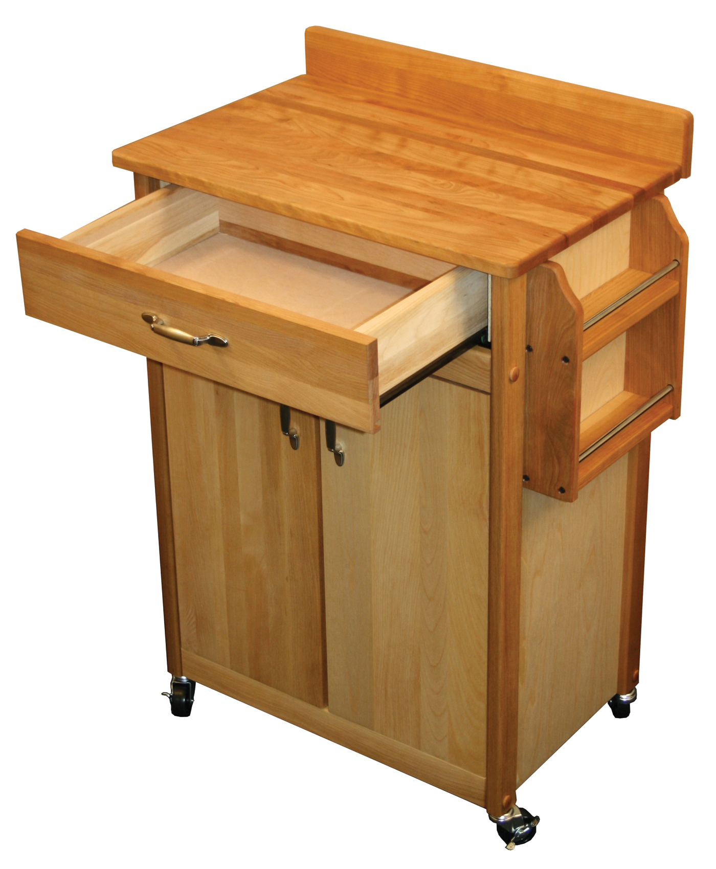 Catskill Craftsmen Butcher Block Cart with Flat Doors and ...