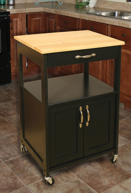 Catskill Craftsmen Kitchen Trolley Black Base Natural Top